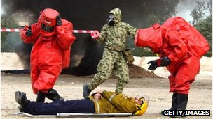 Kuwaiti rescue personnel respond to a mock chemical attack, December 28, 2002