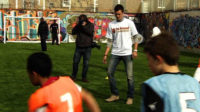 Carl Jenkinson representing the Arsenal Foundation in Hackney