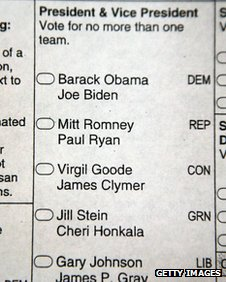 A Iowa early voting ballot 27 September 2012