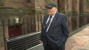 Ronald Johns arriving at Carlisle Crown Court