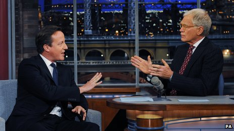 David Cameron talks to David Letterman