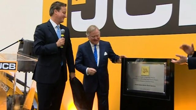 David Cameron opens JCB factory in Brazil