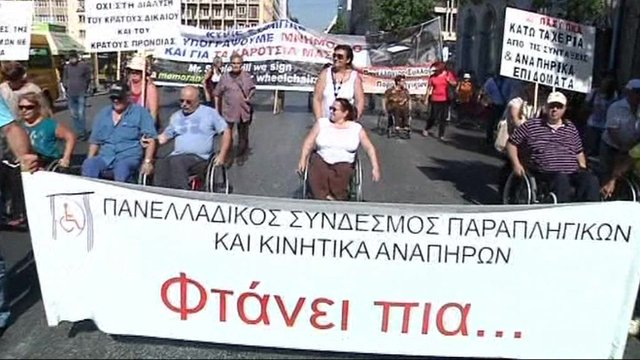 Disabled Greeks protesting against benefit cuts
