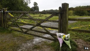 Flowers are laid close to the River Clywedog near Wrexham