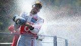 Lewis Hamilton celebrates his victory in the Italian Grand Prix on 9 September