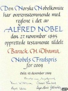President Obama's Nobel Peace Prize certificate