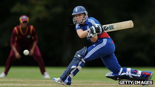 Heather Knight of England plays a shot during the NatWest Women's International T20 Series match between England Women and West Indies Women at Arundel