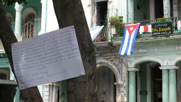 For Sale sign on Havana's alternative housing market