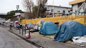 A Roma (Gypsy) camp on a roadside in Marseille, 12 September 2012