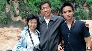 Bo Xilai (C) with convicted wife Gu Kailai and son Bo Guagua - file pic