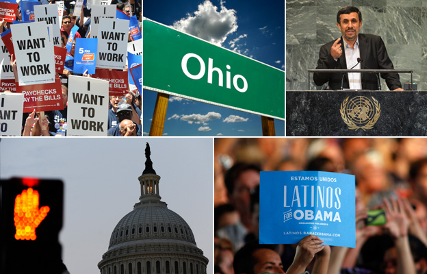 From top left, clockwise: people holding placards reading 'I want to work', an Ohio road sign, Iranian President Mahmoud Ahmadinejad, a sign reading: 'Latinos for Obama', Capitol Hill  and a road traffic stop sign