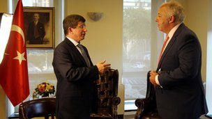 Turkish Foreign Minister Ahmet Davutoglu with Jeremy Bowen. 28 Sept 2012