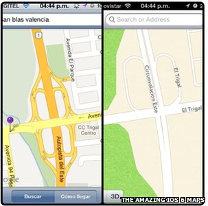 Screenshot comparing Google and Apple maps