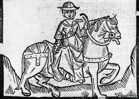 Woodcut of the wife of Bath 