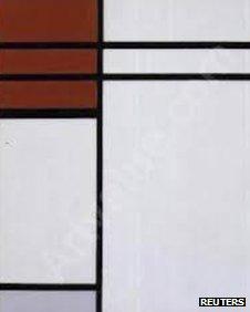 Mondrian's Composition (A) En Rouge Et Blanc