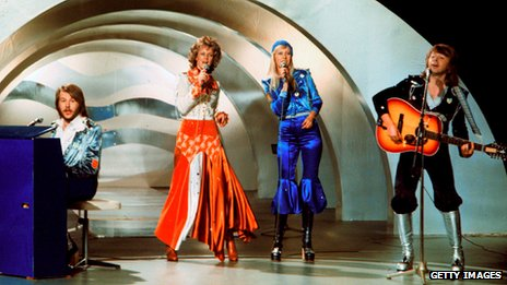 Abba performs during the the Eurovision Song Contest in 1974