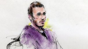 Courtroom sketch showing suspected gunman James Holmes during a hearing in district court in Centennial, Colorado on 20 September