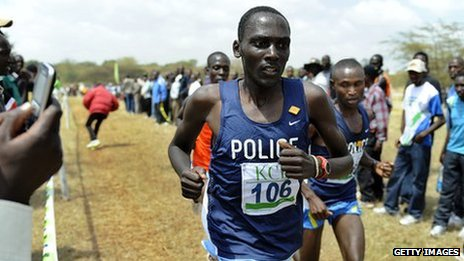 Mathew Kisorio running in February 2011