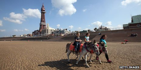 Donkeys on beach at Blackpool
