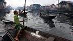 Canoes in the Lagos slum of Makoko in Lagos, Nigeria - Thursday 27 September 2012