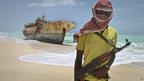 A pirate in Hobyo, Somalia - Sunday 23 September 2012