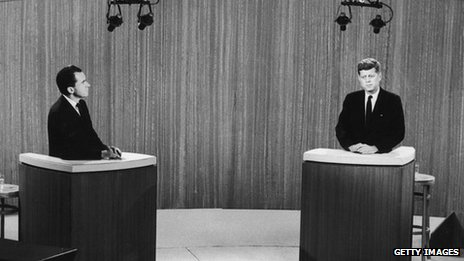 Richard Nixon and John F Kennedy at a 1960 presidential debate