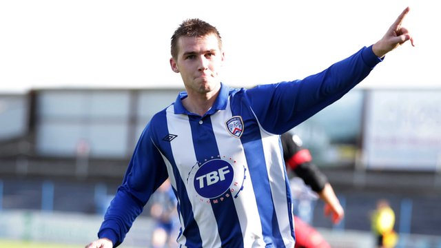 Coleraine's Stephen Lowry celebrates scoring against Dungannon Swifts
