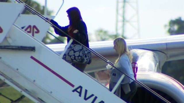 Megan Stammers boarding a plane in Bordeaux