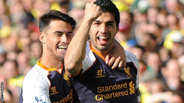 Suso (left) and Luis Suarez