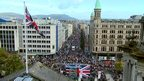 View of parade from top of Belfast City Hall