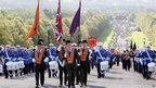 Bands marching towards Stormont