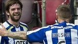 Hat-trick hero Cillian Sheridan is congratulated by Kilmarnock team-mate Michael Nelson