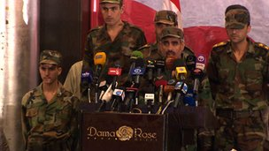 Army defectors at the Force for Peaceful and Democratic Change conference in Damascus, Sept 2012