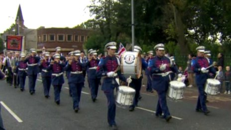 Band passing St Matthew's Church