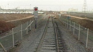 Railway line heading into Portbury Docks