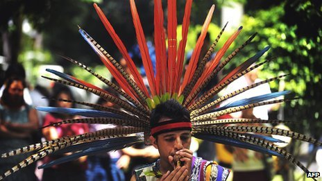 Member of the Pipil indigenous people at a festival celebrating the ingenous culture of El Salvador (Aug 2010)
