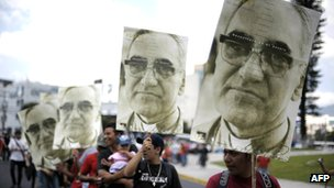 El Salvadorans commemorate the 31st anniversary of the 1980 assassination of human rights campaign and archbishop of San Salvador, Oscar Romero, on 24 March 2011