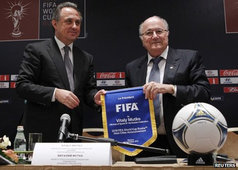 Russian Sports Minister Vitaly Mutko (left) and Fifa president Sepp Blatter in Moscow, 30 September