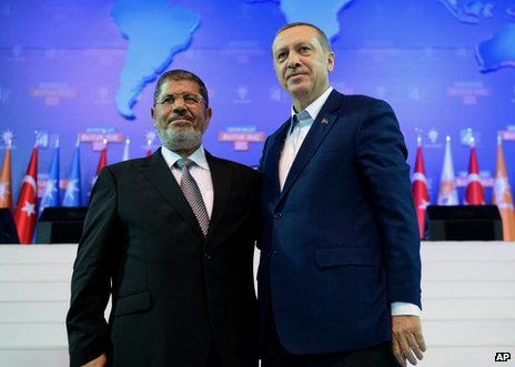 Egyptian President Mohammed Mursi (left) with Turkish Prime Minister Recep Tayyip Erdogan in Ankara, 30 September