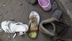 Abandoned shoes at the scene of an explosion at the Anglican Church of Kenya Sunday school in Nairobi, September 30