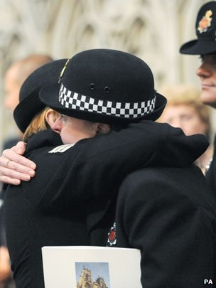 Police officers show emotion at memorial service in York