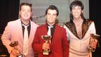 The winners in the  best Elvis contest, L-R: Jared Warne, 19, from Burnley (3rd); Ben Thompson, 19, from Croydon, south London (1st); Dean Mack, 40, from Newport, south Wales (2nd)