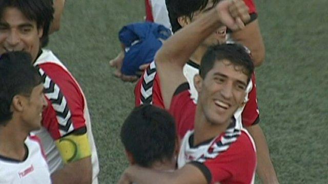 Players celebrating victory