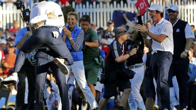 Europe celebrate winning the Ryder Cup