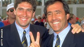 Jose Maria Olazabal and Seve Ballesteros at 1991 Ryder Cup in Kiawah Island