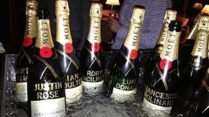 There were personalised champagne bottles for the Ryder cup heroes