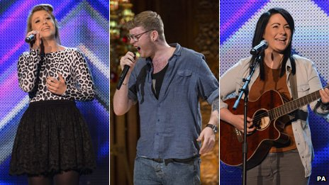X Factor finalists Ella Henderson, James Arthur and Lucy Spraggan