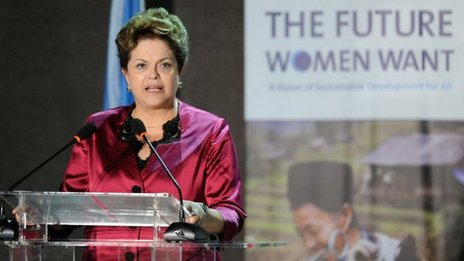 Brazilian president Dilma Rousseff, at Women&#039;s Right Conference at Rio+20