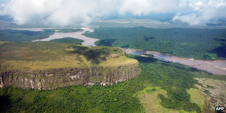 View of a table mountain in Canaima National Park, southern Venezuela