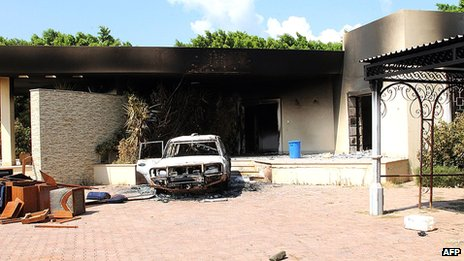 A burnt house and a car are seen inside the US embassy compound on 12 September 2012 in Benghazi, Libya following an overnight attack on the building